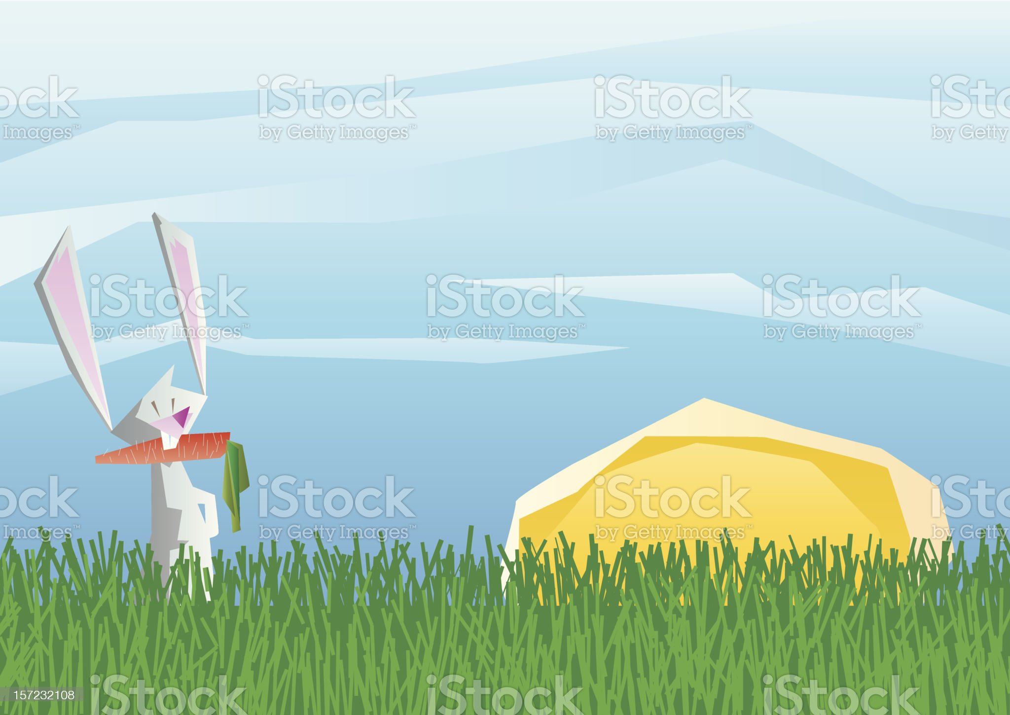 bunny and carrot royalty-free stock vector art