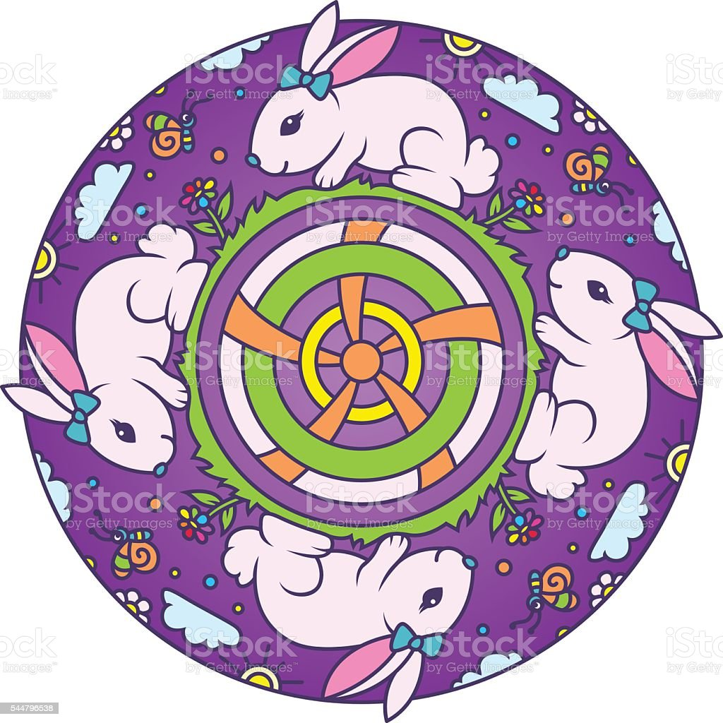 Bunny Colorful Round Mandala Ornament vector art illustration