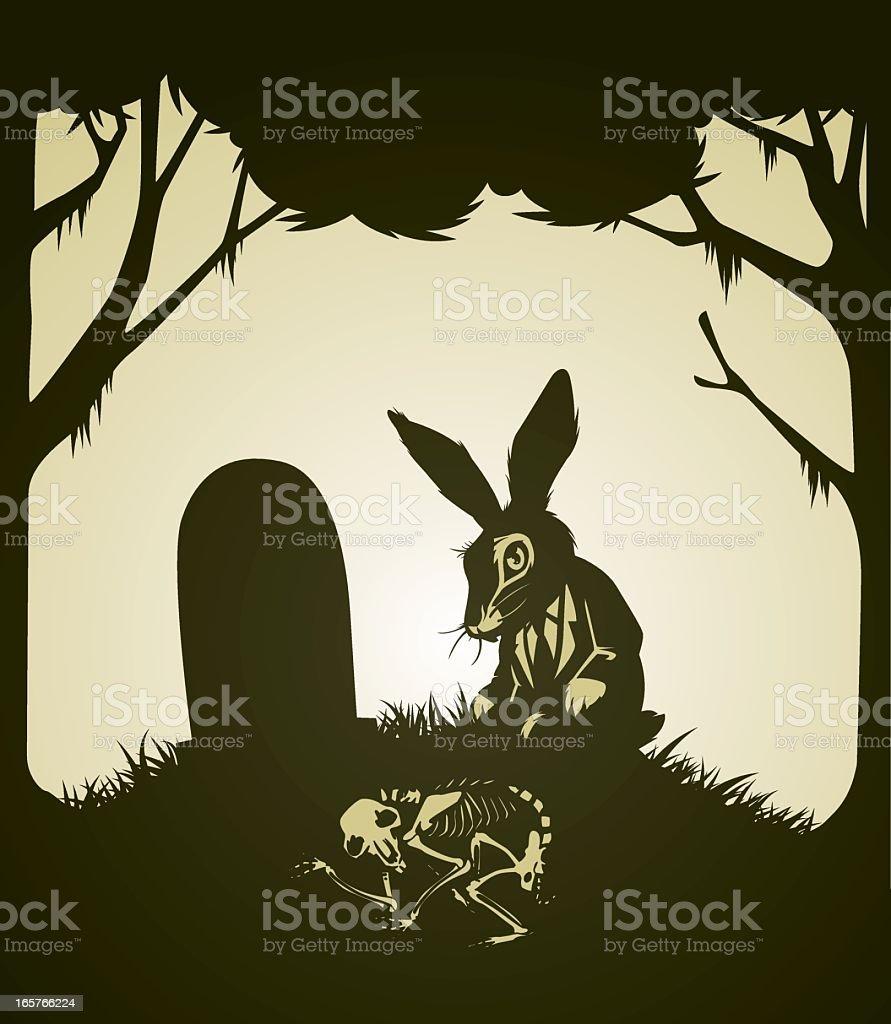 bunny grave vector art illustration