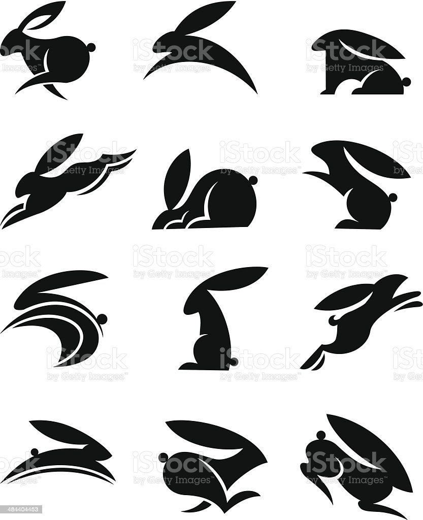 Bunny Icons vector art illustration