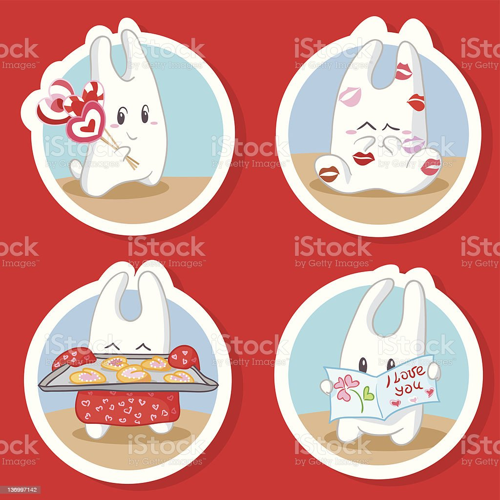 Bunny in love royalty-free stock vector art