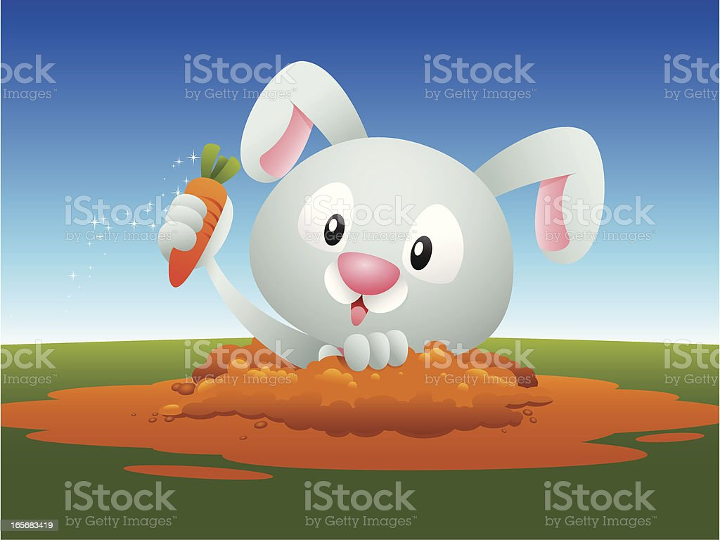 Bunny in the hole vector art illustration