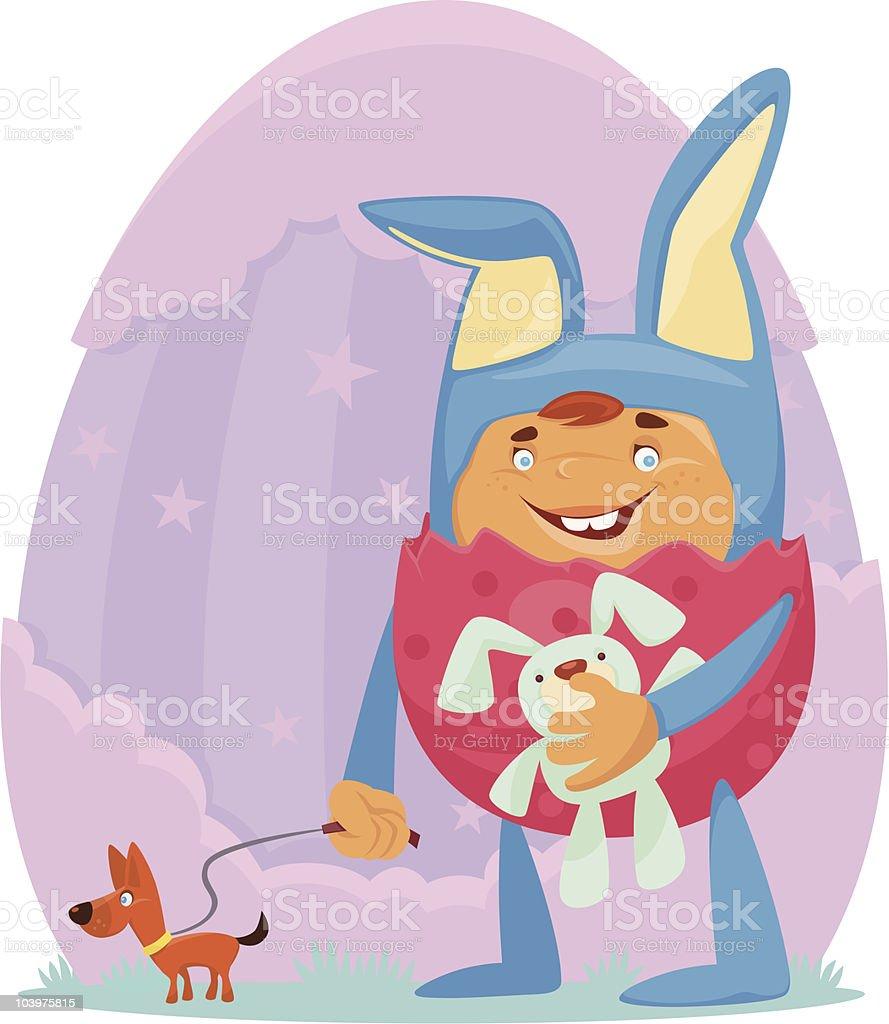 bunny kid vector art illustration