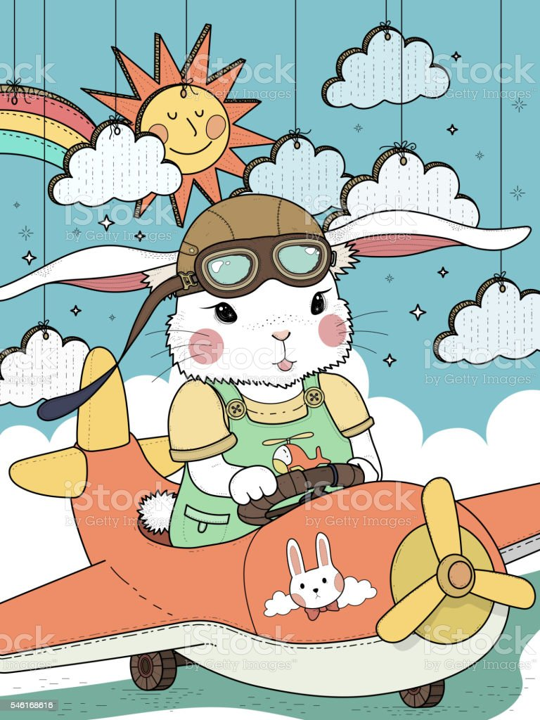 bunny pilot coloring page vector art illustration