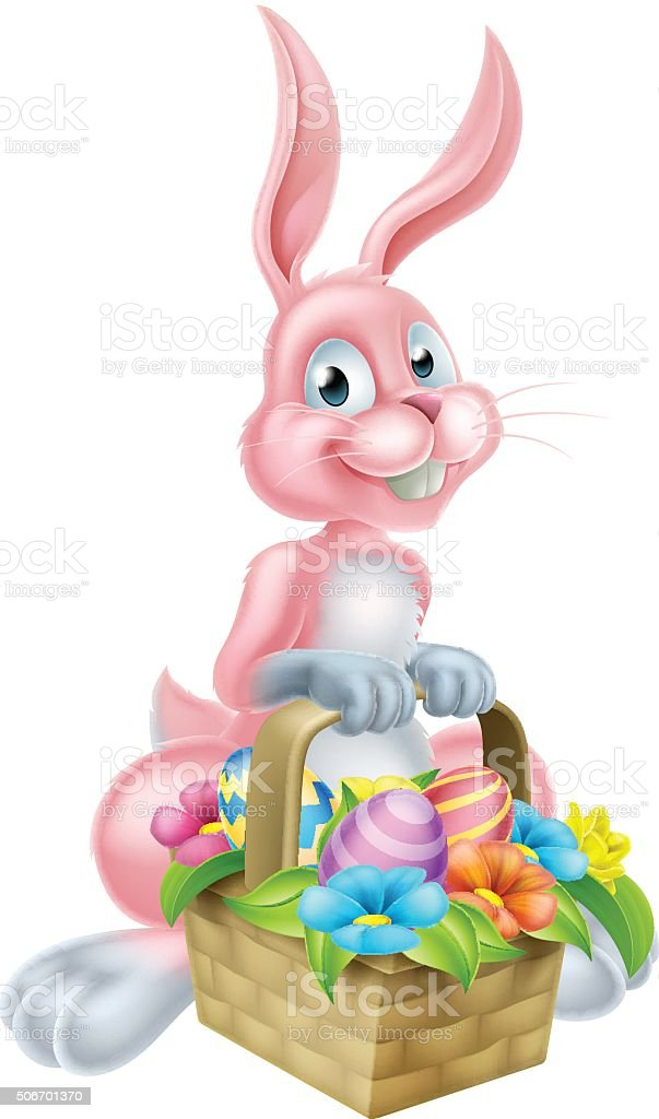 Bunny Rabbit with Easter Basket vector art illustration