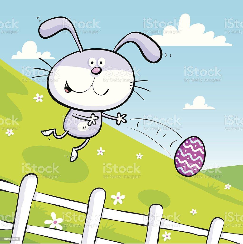bunny rolls easter egg down hill stock vector art 481930069 istock