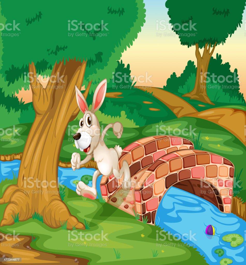 Bunny running across the bridge royalty-free stock vector art