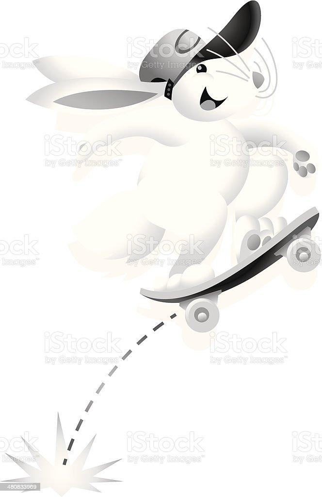 Bunny Skateboard vector art illustration