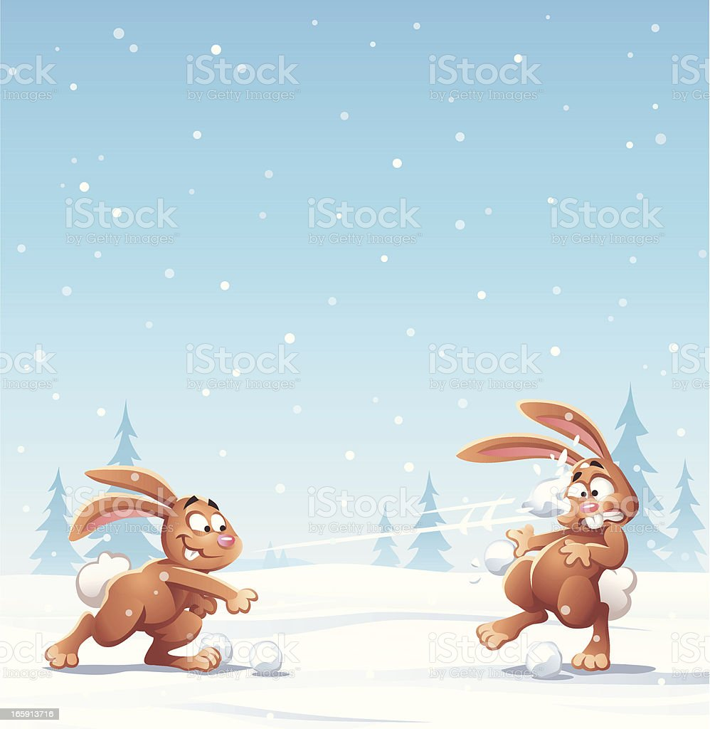 Bunny Snowball Fight vector art illustration