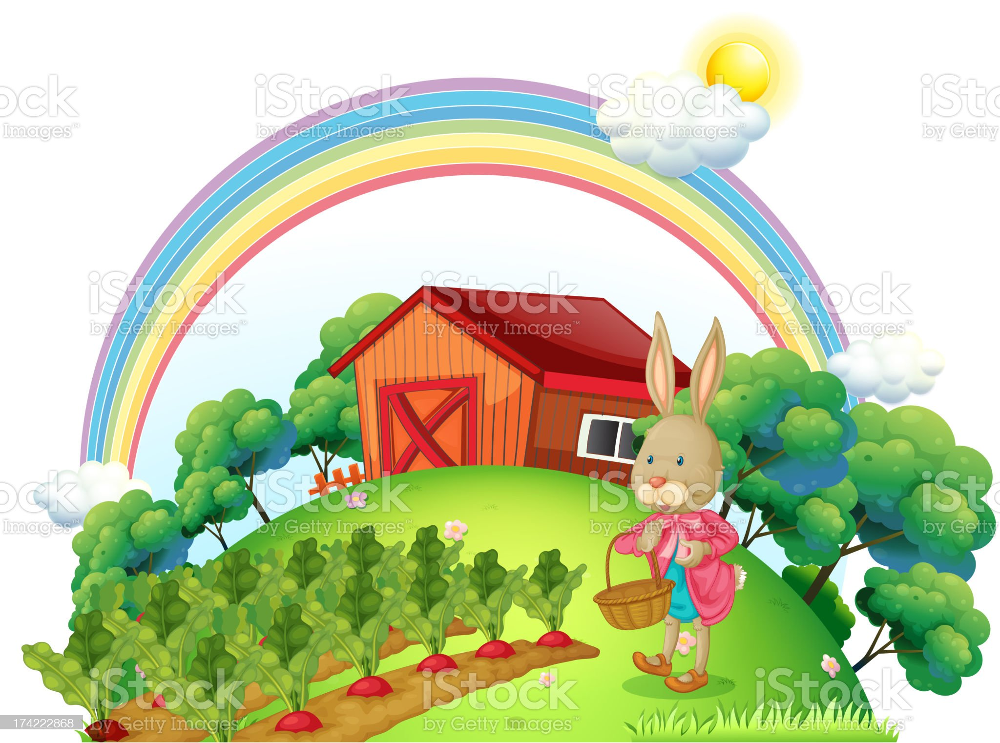bunny with a basket in the garden royalty-free stock vector art