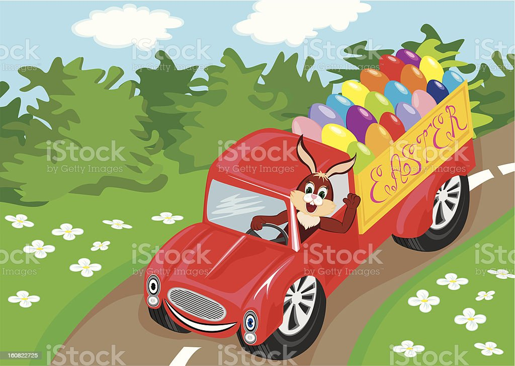 Bunny with easter eggs in car royalty-free stock vector art