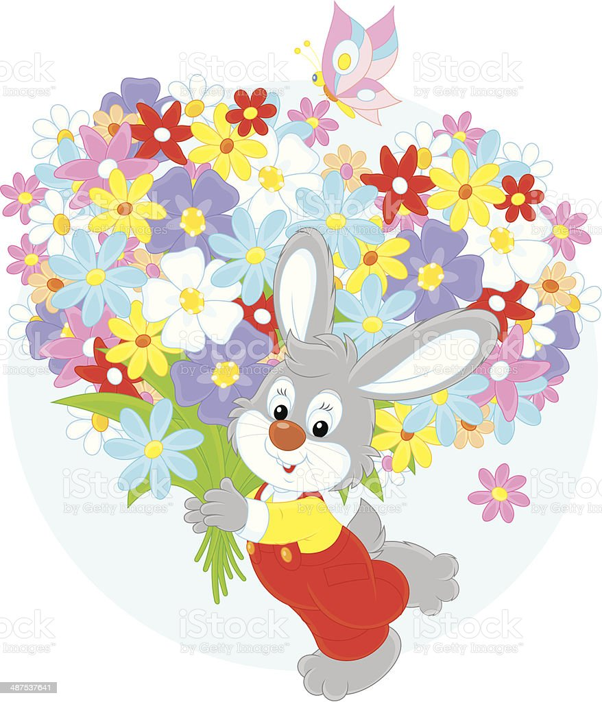 Bunny with flowers vector art illustration