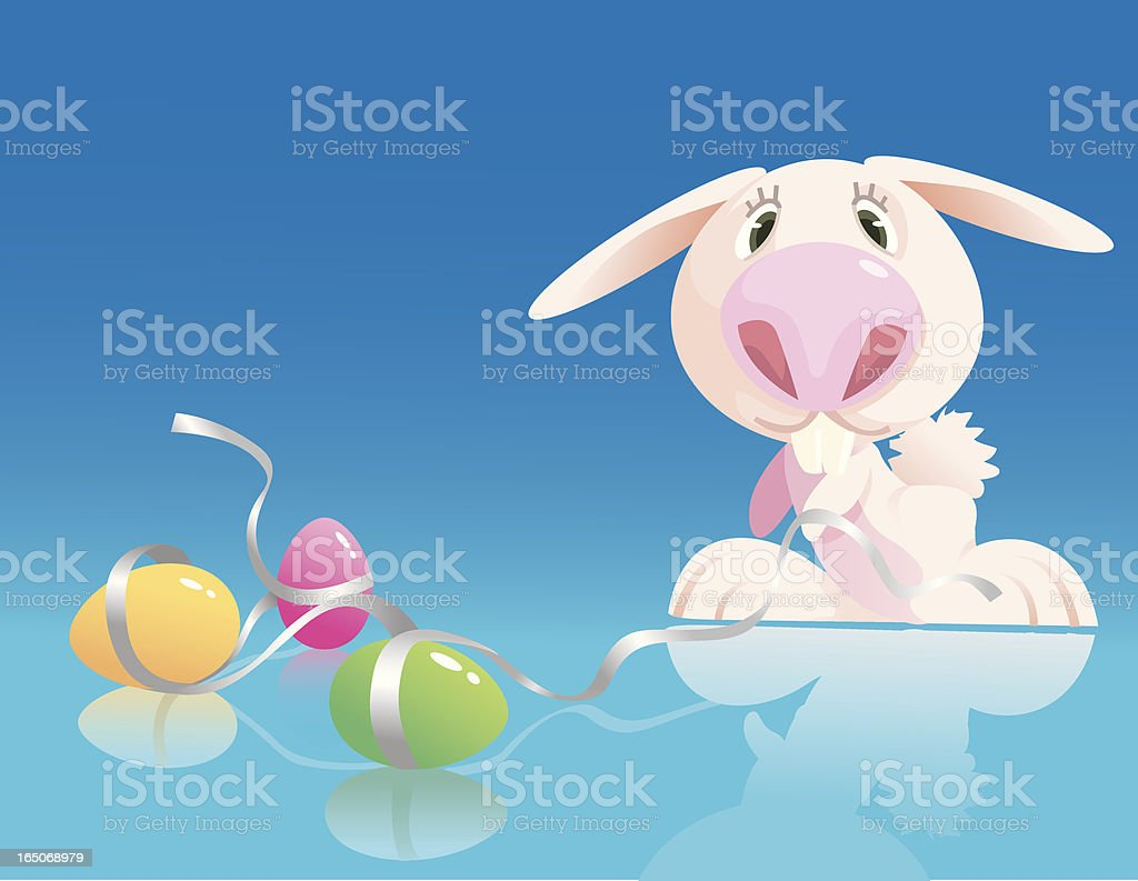 bunny with pink nose royalty-free stock vector art