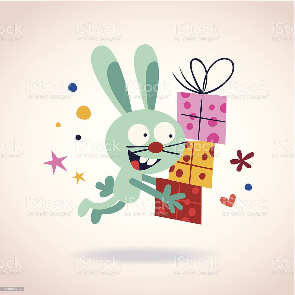 bunny with presents royalty-free stock vector art