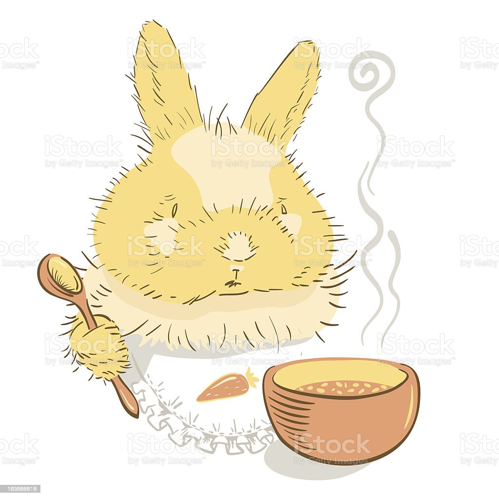 Bunny with spoon and plate (vector illustration) royalty-free stock vector art