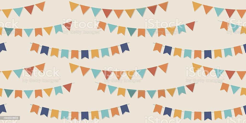 Bunting party flags seamless vector pattern vector art illustration