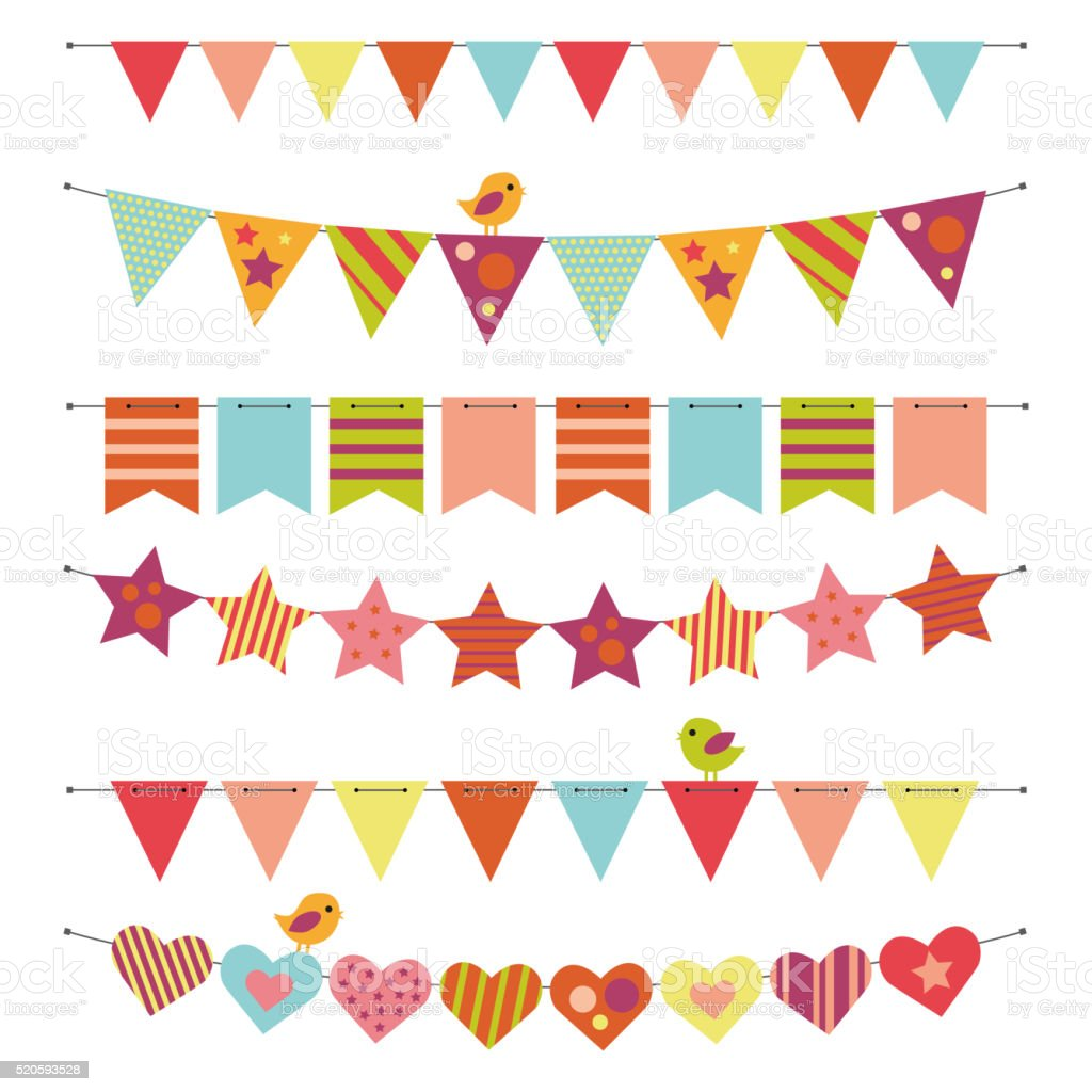 Buntings and Garlands vector art illustration