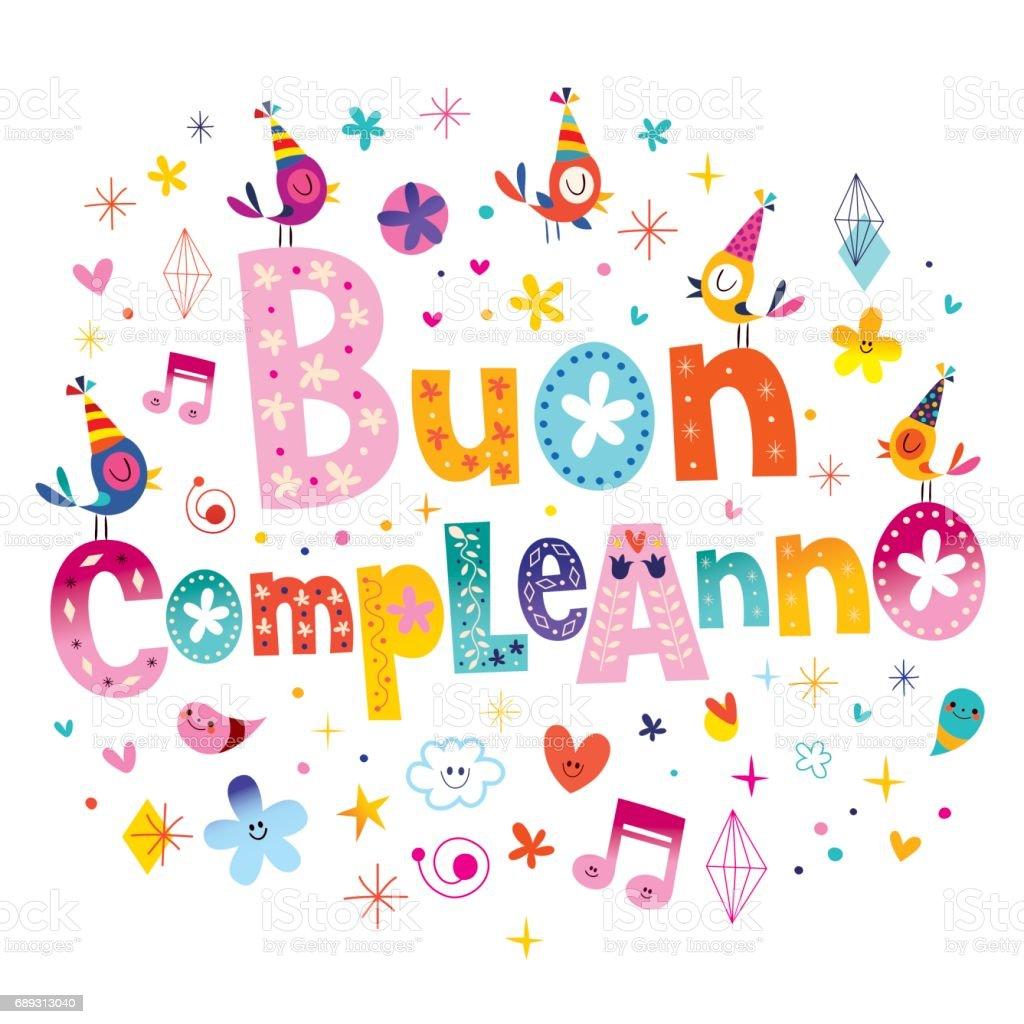 Buon Compleanno Happy Birthday In Italian Stock Vector Art