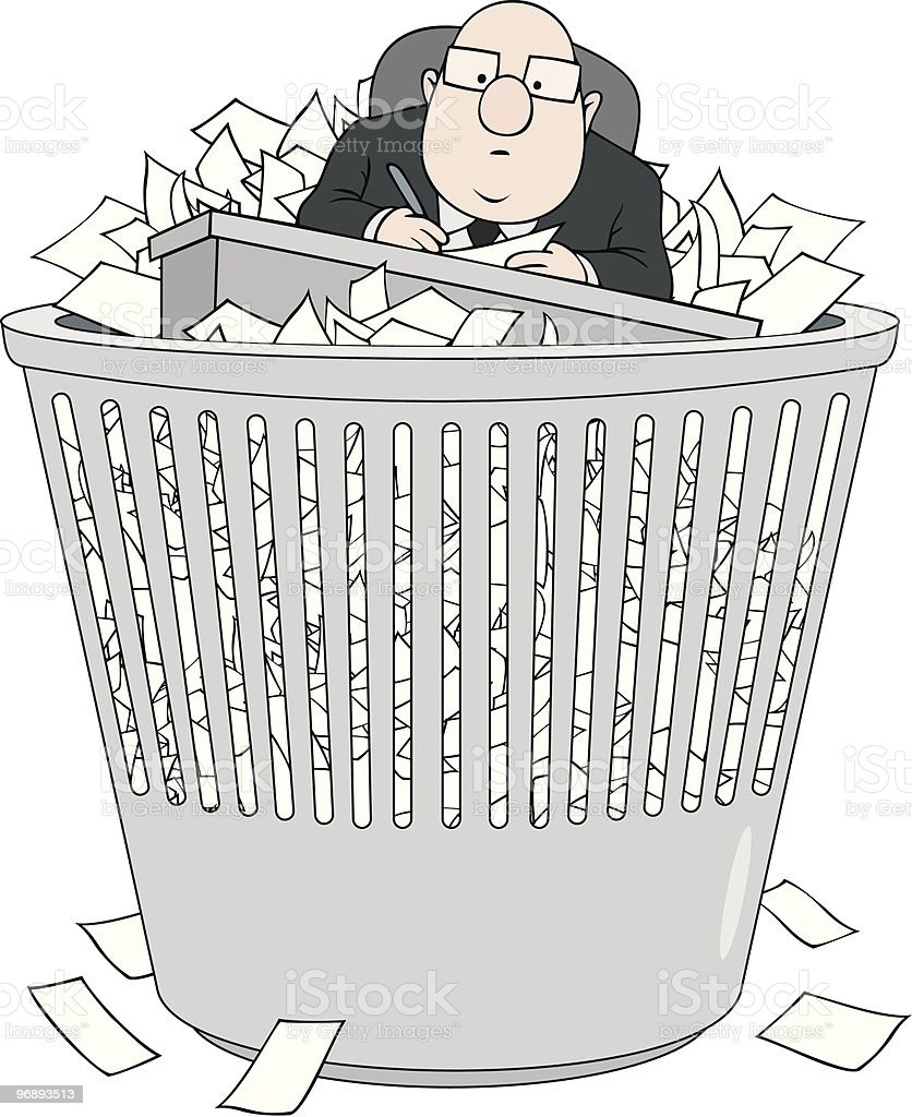 Bureaucrat in wastepaper basket royalty-free stock vector art