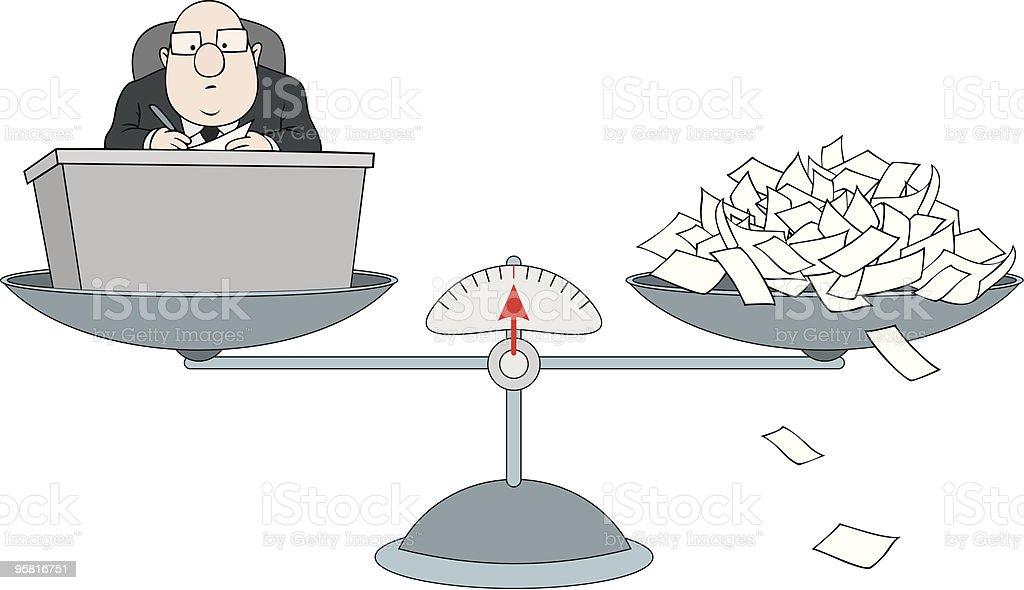 Bureaucrat on the scales royalty-free stock vector art
