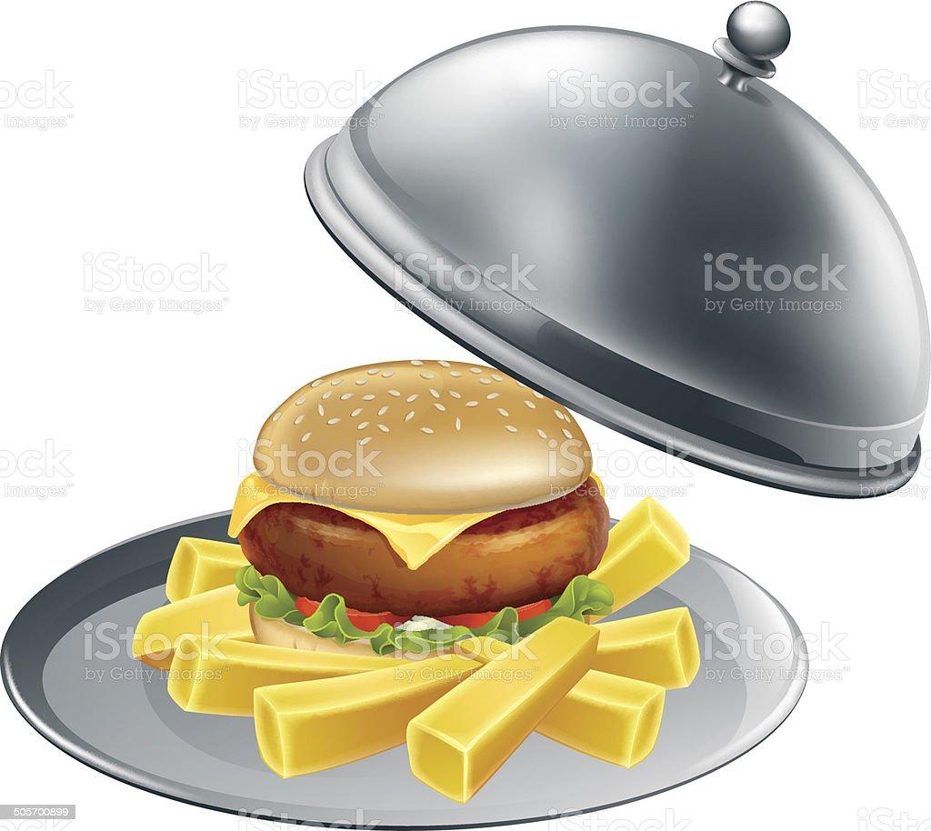 Burger and chips on a silver platter vector art illustration