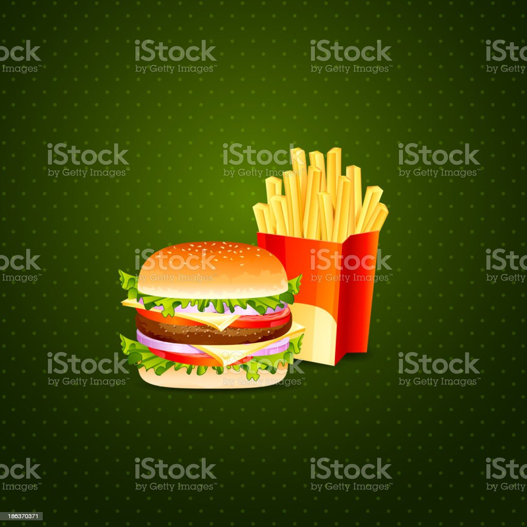 Burger and French Fries royalty-free stock vector art