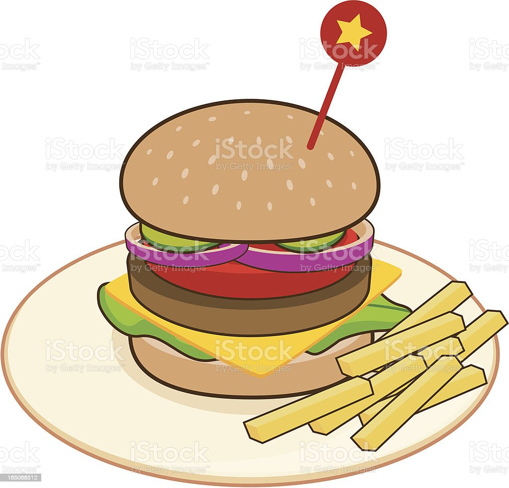 Burger and Fries Meal vector art illustration