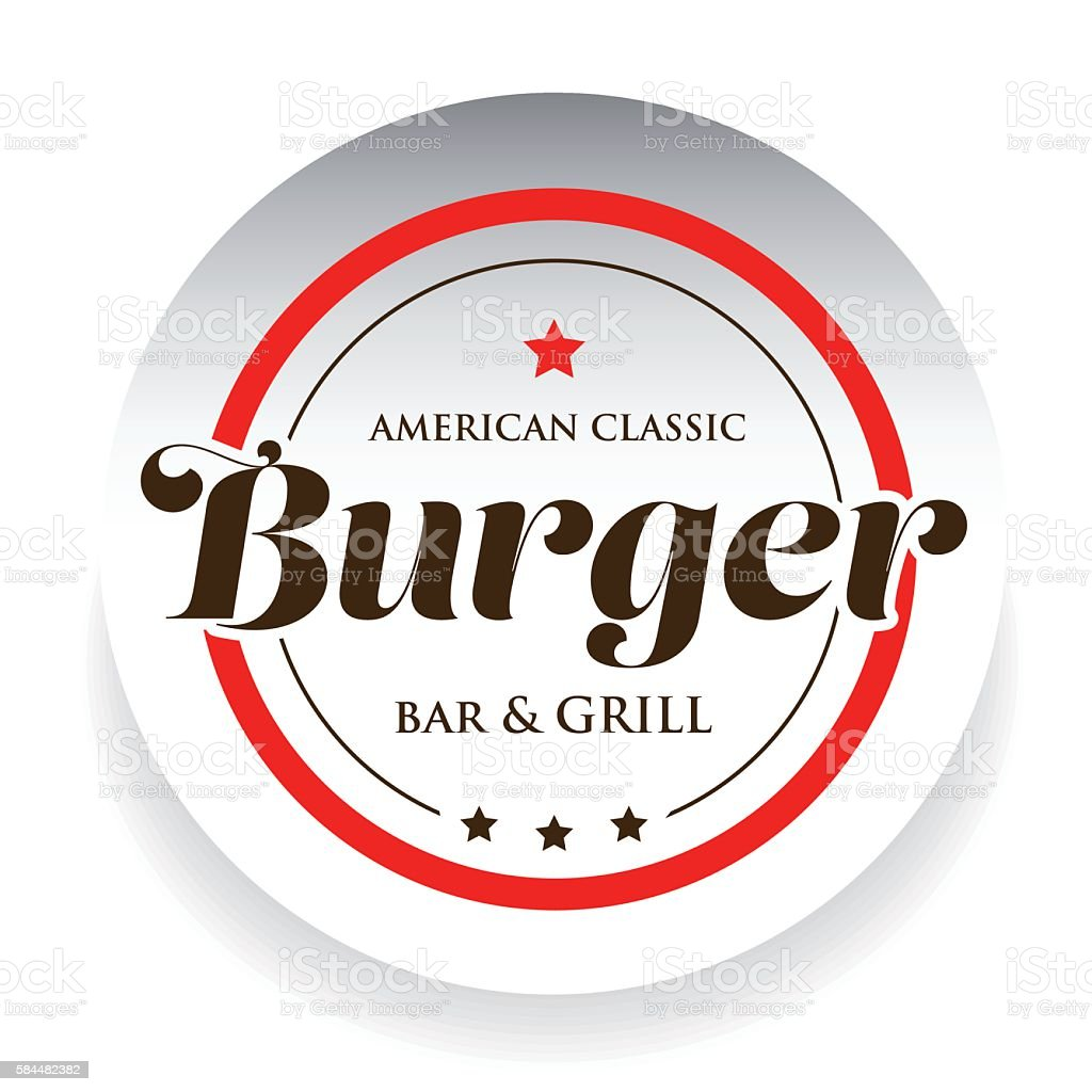 Burger Bar and Grill - American Classic stamp vector art illustration