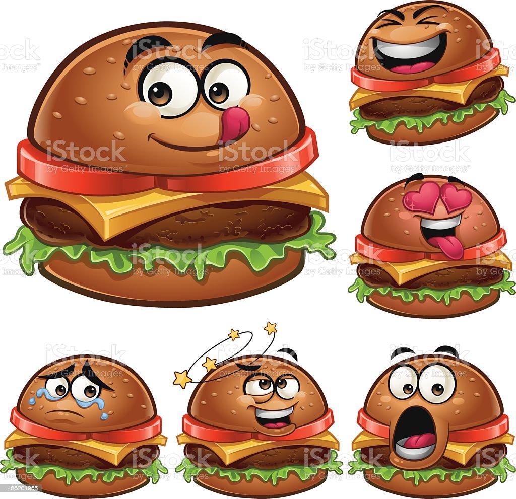 Burger Cartoon Set A royalty-free stock vector art