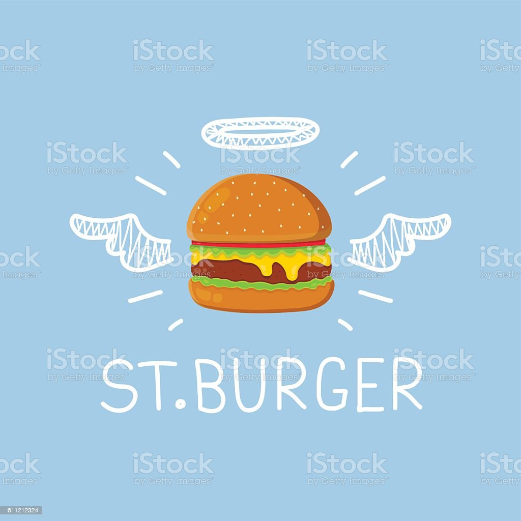 Burger concept 'St. Burger' with angel halo vector art illustration