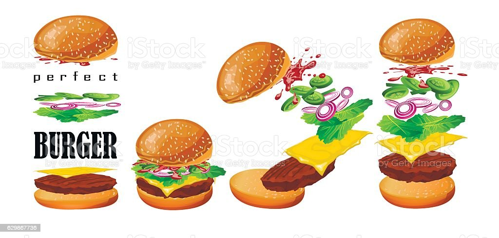 Burger floating scheme grilled beef cutlet perfect vector illustration vector art illustration
