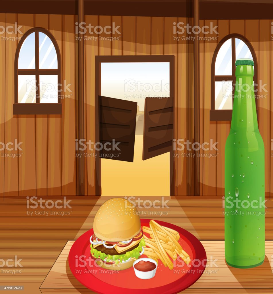 Burger, fries in red plate and bottle of soda royalty-free stock vector art