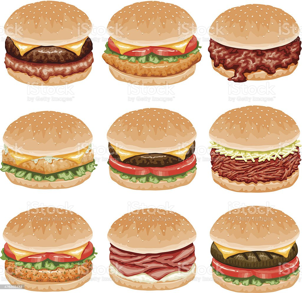 Burger Icon Set royalty-free stock vector art