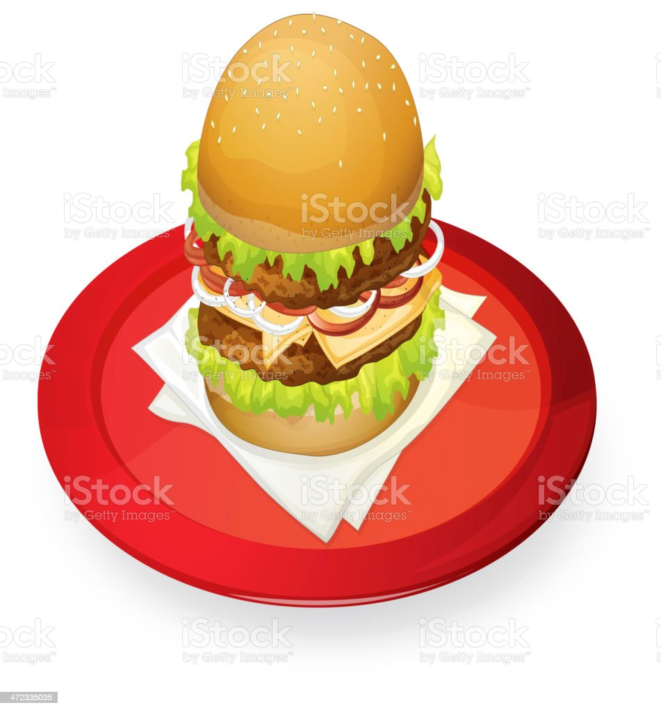 burger in red dish royalty-free stock vector art