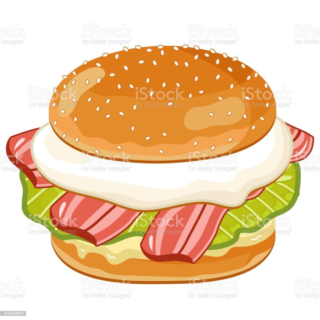 Burger on white background. vector art illustration