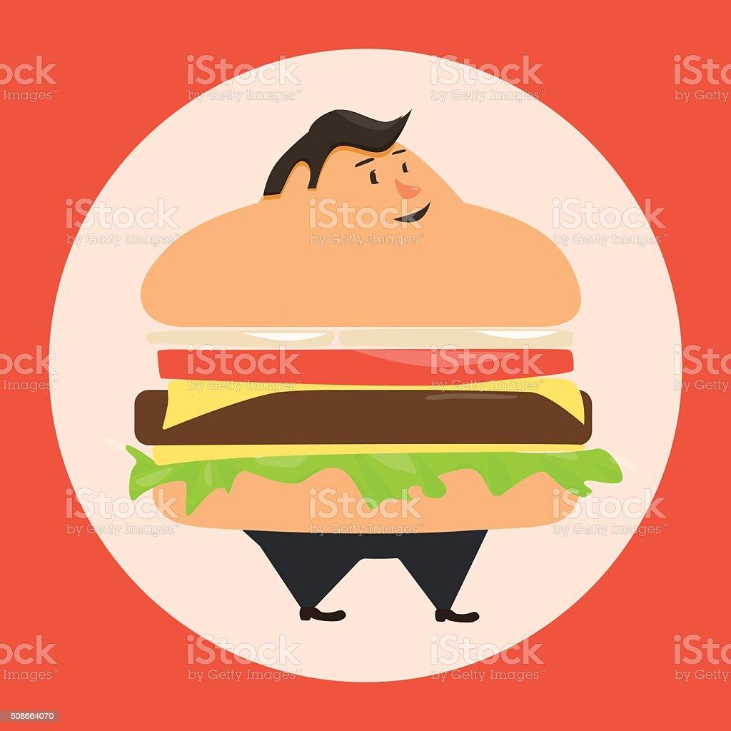 Burgerman. People who eat too many burgers vector art illustration