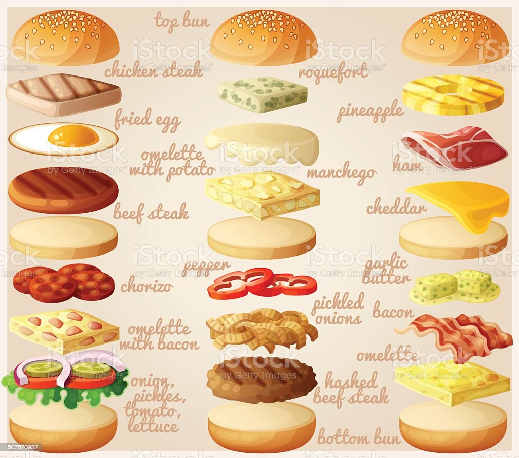 Burgers set. Ingredients: buns, cheese, bacon, tomato, onion, lettuce, cucumbers vector art illustration