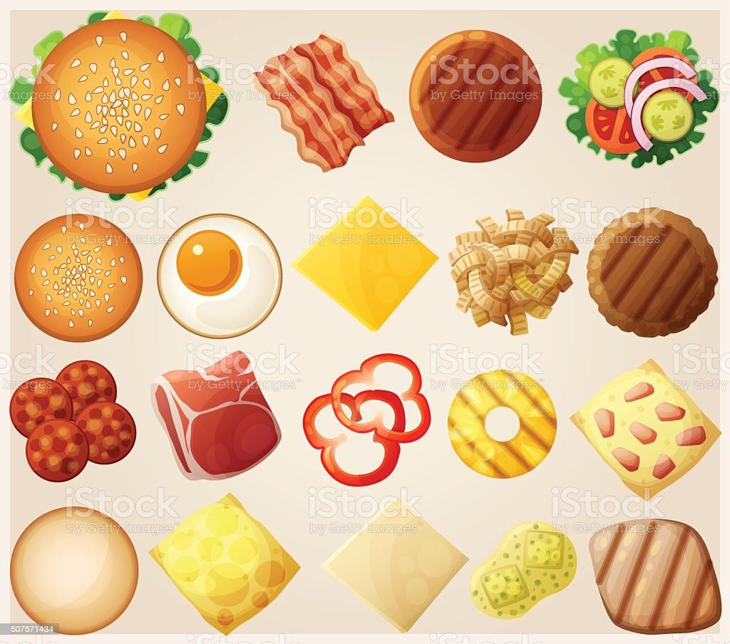 Burgers set. Top view. Ingredients: buns, cheese, bacon, tomato, onion vector art illustration