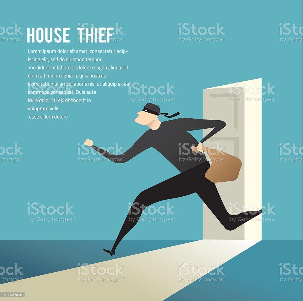 burglar break into a house vector art illustration
