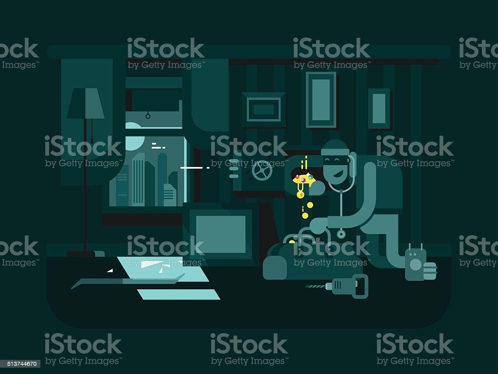Burglar in the apartment vector art illustration