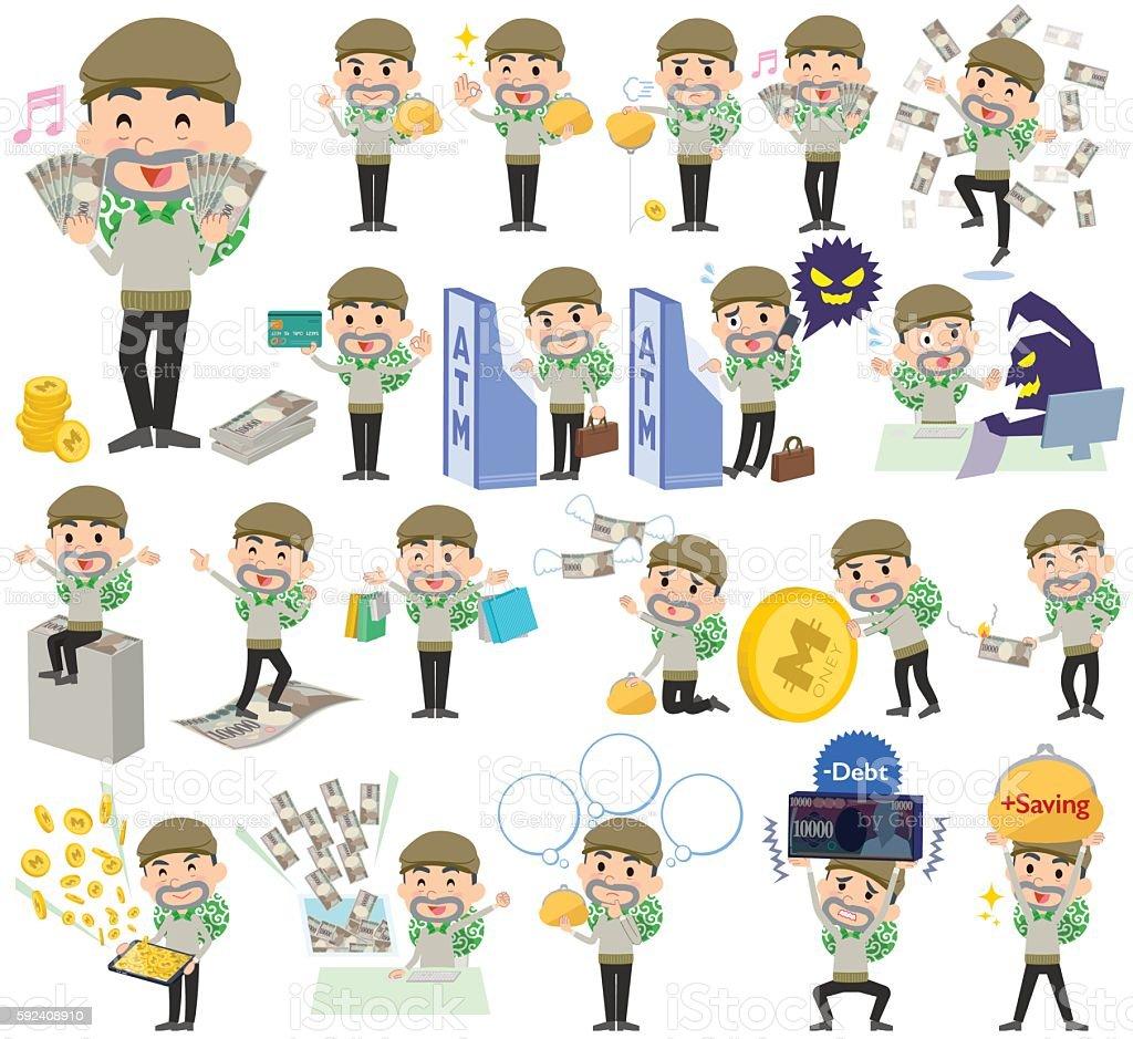 Burglar man money vector art illustration
