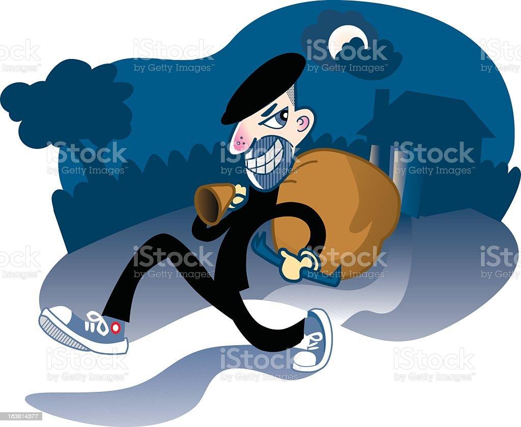 burglar walks off with loot vector art illustration