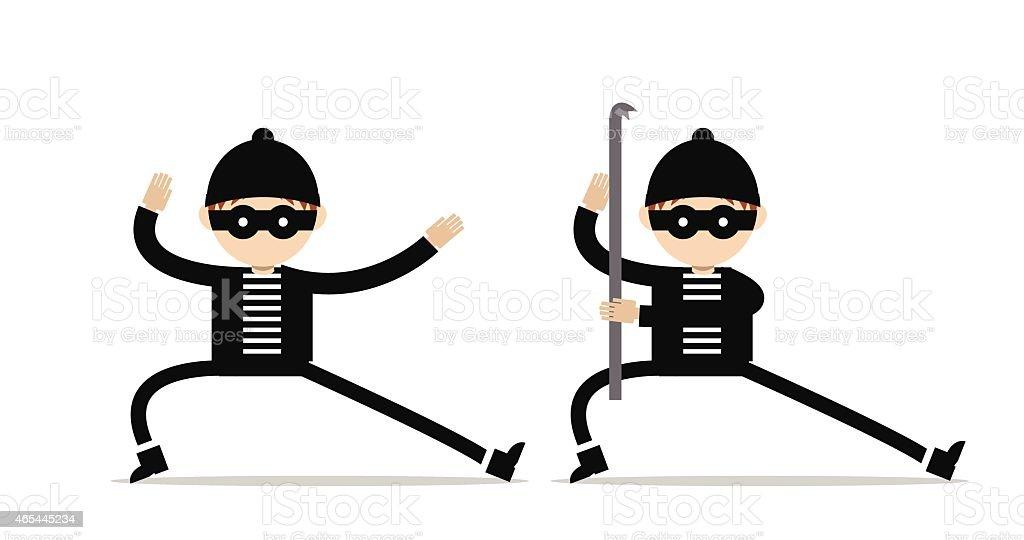 Burglar with a crowbar vector art illustration