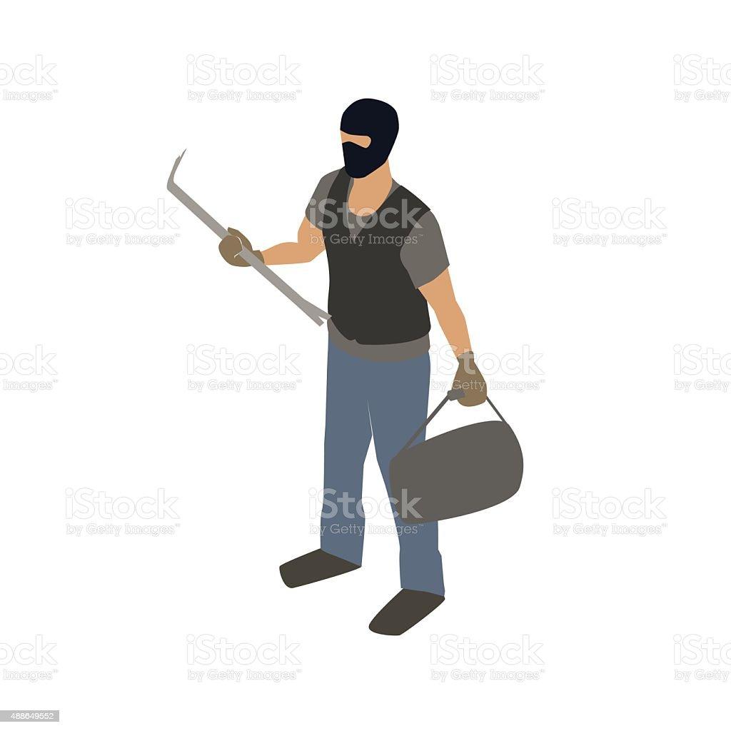 Burglar with crowbar illustration vector art illustration