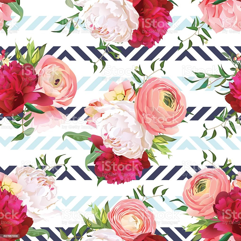 Burgundy red and white peonies, ranunculus, rose seamless vector pattern vector art illustration