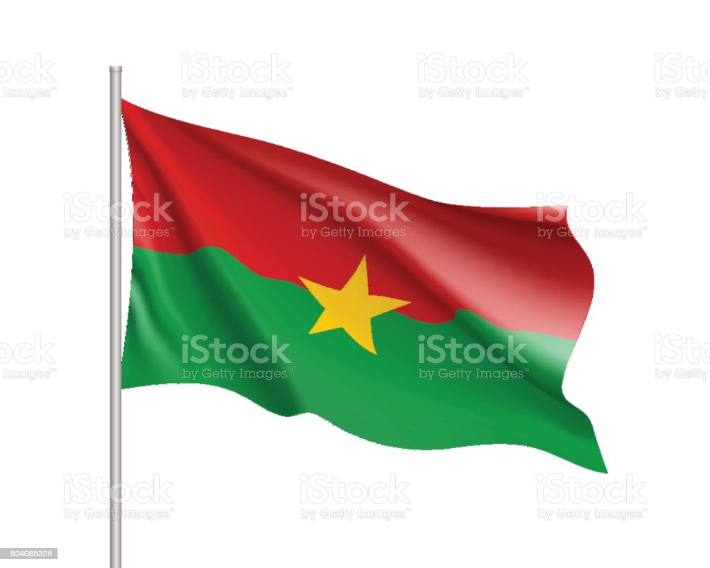 Burkina Faco realistic flag vector art illustration