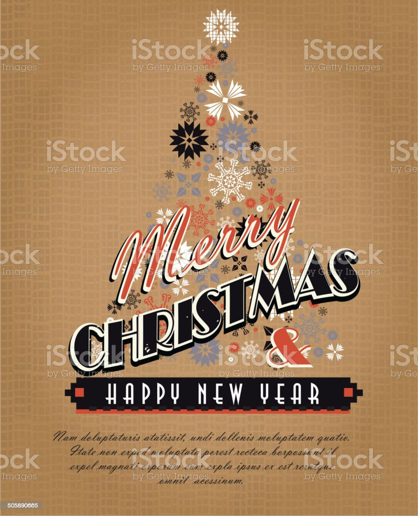 Burlap kitschy vintage Christmas greeting design with Holiday tree royalty-free stock vector art