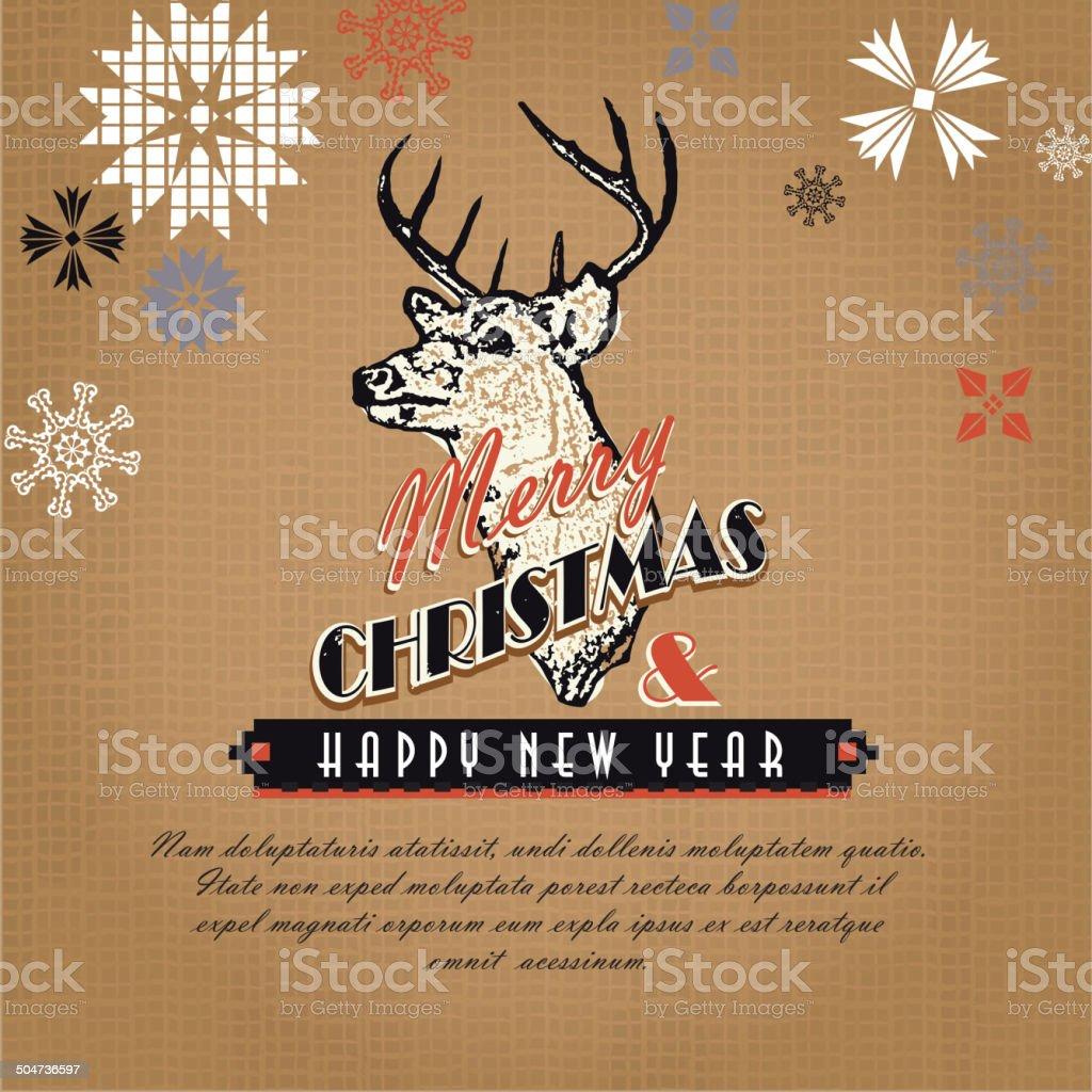 Burlap kitschy vintage Christmas greeting design with rustic deer head royalty-free stock vector art