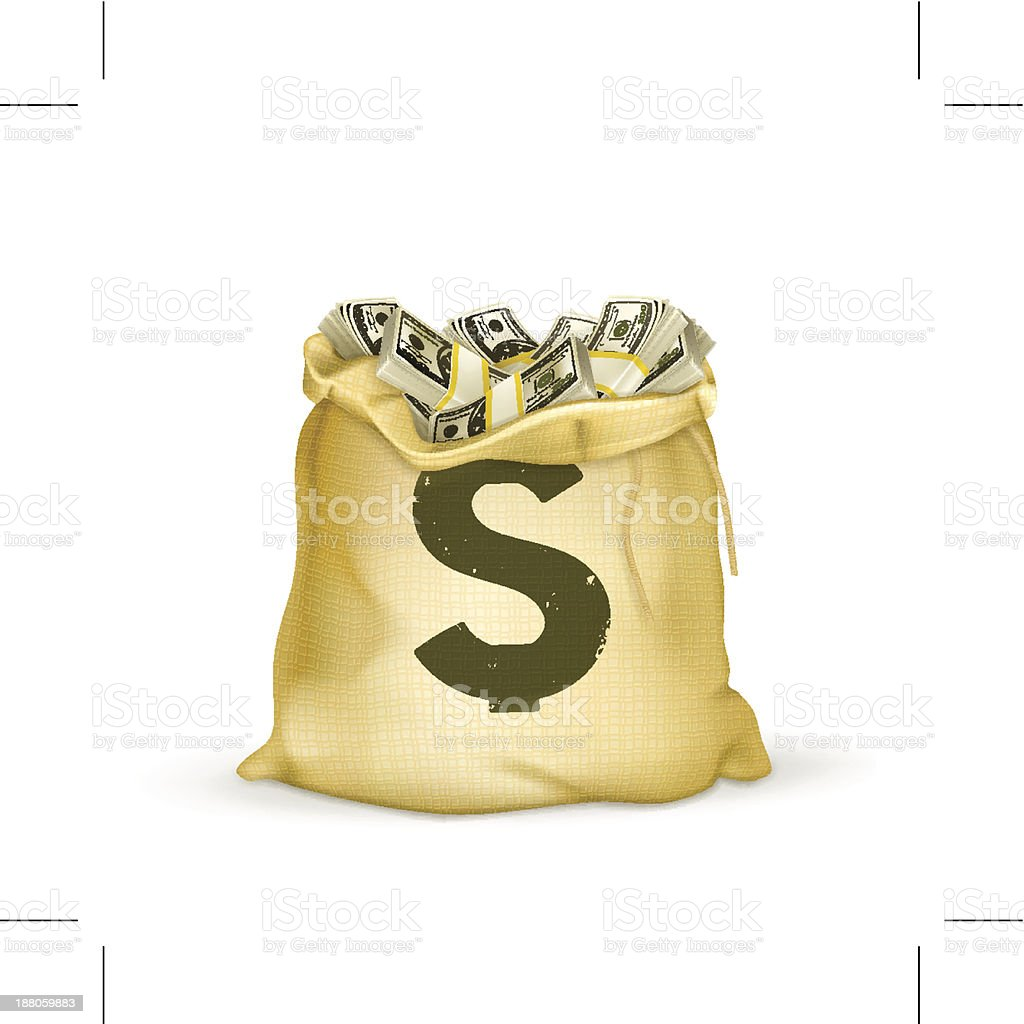 Burlap sack of cash with green dollar sign vector art illustration