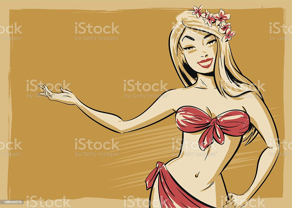 Burlesque Pin-up Character Illustration vector art illustration